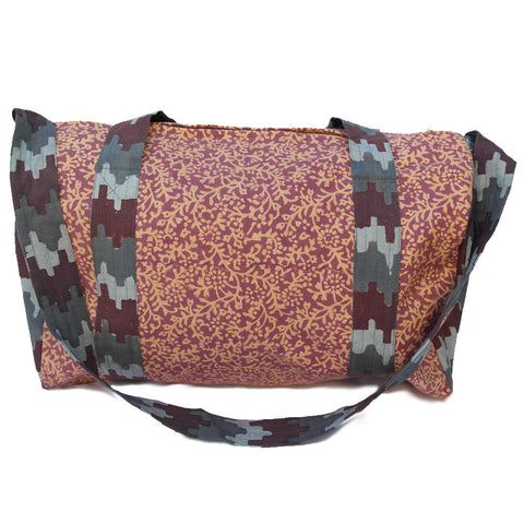 Knighbury Tangier Cotton Hand Block Printed Duffle Bag Inspired by Artisans in India and Bohemian Style Around the World