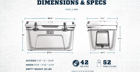 Yeti Tundra 65 Dimensions and capacity