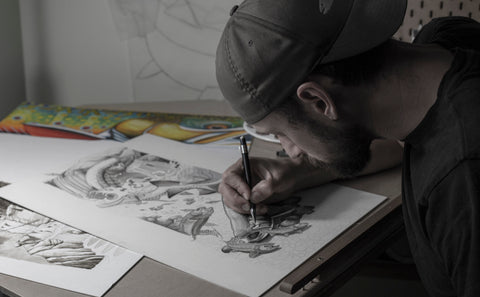 Calgary's Fly Shop Artist Series Showcase featuring Nick Laferriere at work