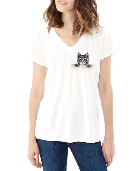 Kitten in a Pocket Tee - Adventure Kitty  - 4