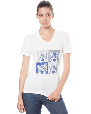 Cleo Kitty Eco Ivory Tee - Adventure Kitty  - 1