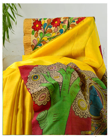 7da625d31fa31 Sold Out Muga Tussar Silk With Pen Kalamkari Saree