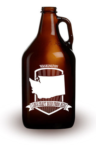 I Love Craft Beer from Washington - 64 oz. Amber Growler