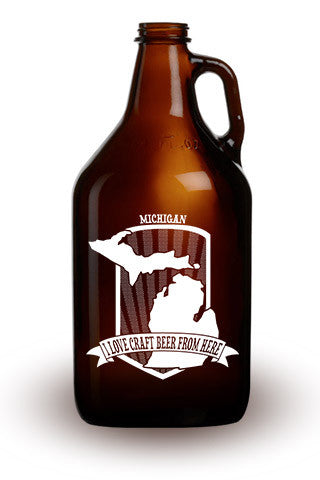 I Love Craft Beer from Michigan - 64 oz. Amber Growler