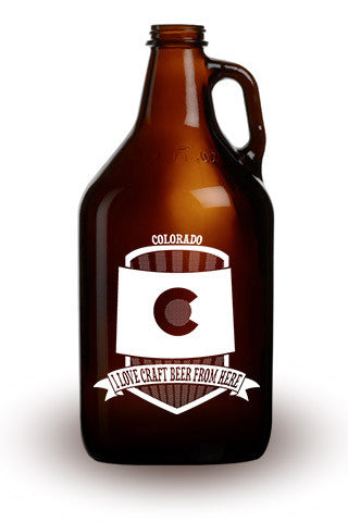 I Love Craft Beer from Colorado - 64 oz. Amber Growler