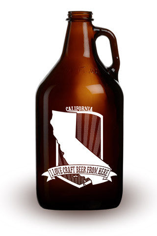 I Love Craft Beer from California - 64 oz. Amber Growler