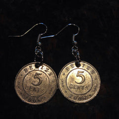 Belize 5 cents coin earrings