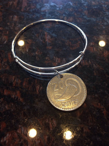 """Fiji 20 cents expandable   wire bangle bracelet	"""