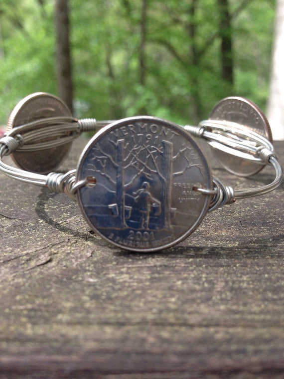 Vermont state quarters Bourbons and Boweties style wire bangle bracelet