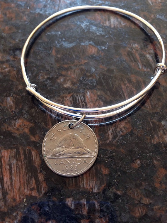 Canada 5 cents expandable wire bangle bracelet