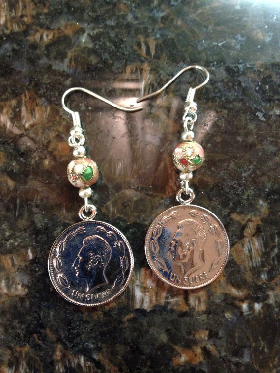 Ecuador 1 Sucre Coin Earrings With Glass Hand...