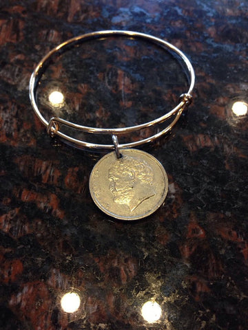 """Greece 5 drachma expandable   wire bangle bracelet	"""
