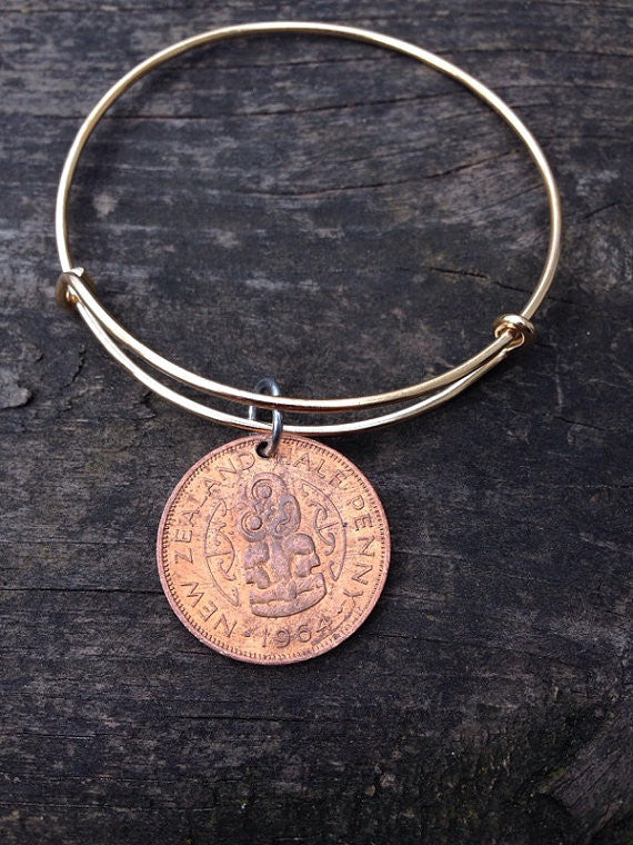 New Zealand half penny expandable wire bangle bracelet