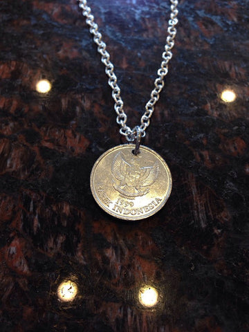 """Indonesia 100 rupiah coin necklace	"""