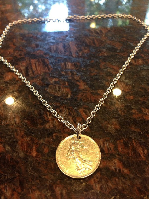 France 1 Franc Coin Necklace