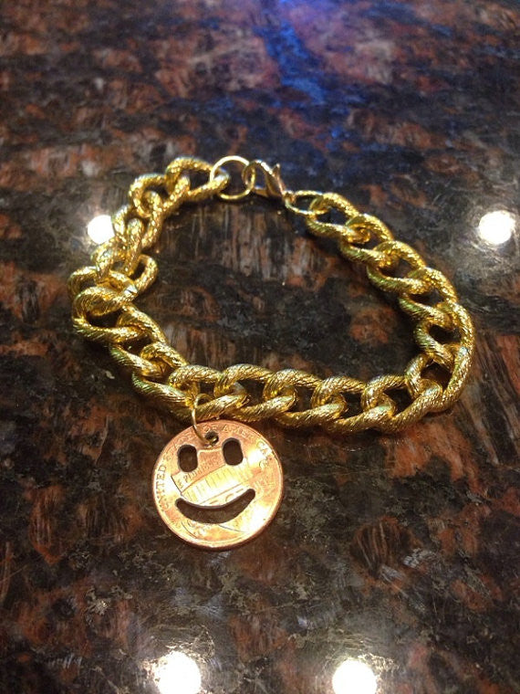 Smiley Face Cut Coin Bracelet Made From A Penny
