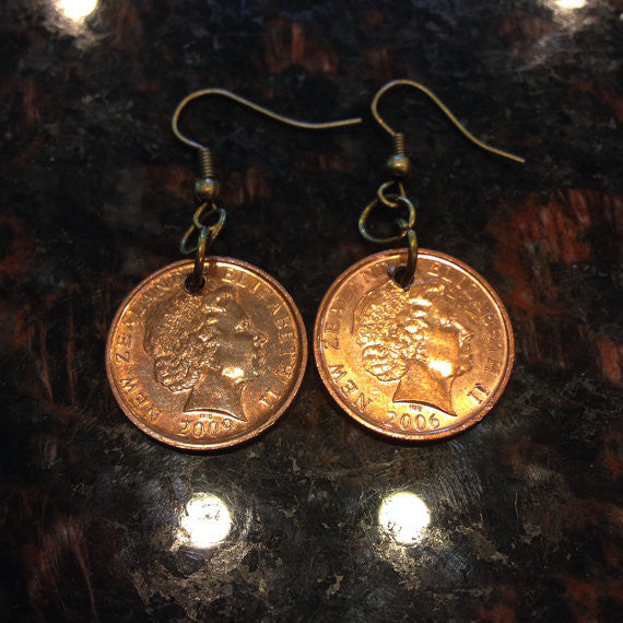 New Zealand 10 Cents Coin Earrings
