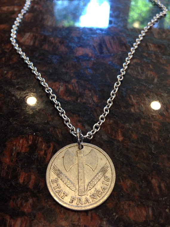 1943 France 2 Francs Coin Necklace