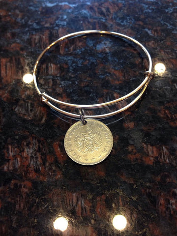 """Bolivia 20 centavos expandable wire bangle bracelet	"""