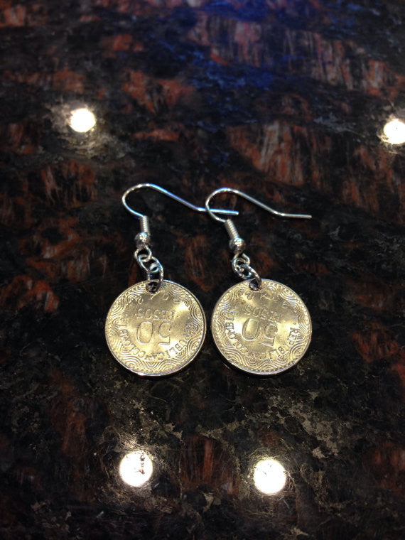 Colombia 50 pesos coin earrings.