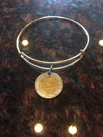 """Mexico 1 peso expandable   wire bangle bracelet	"""