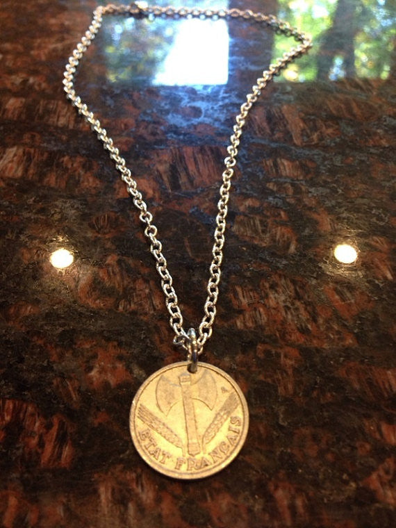 1943 France 1 Franc Coin Necklace