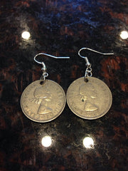 British 1 shilling coin earrings- type 2