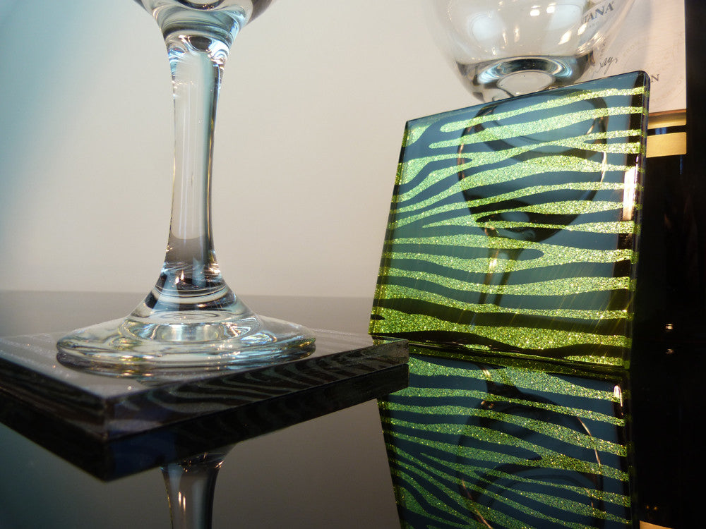 Lime Lust Zebra Coasters 2-pack