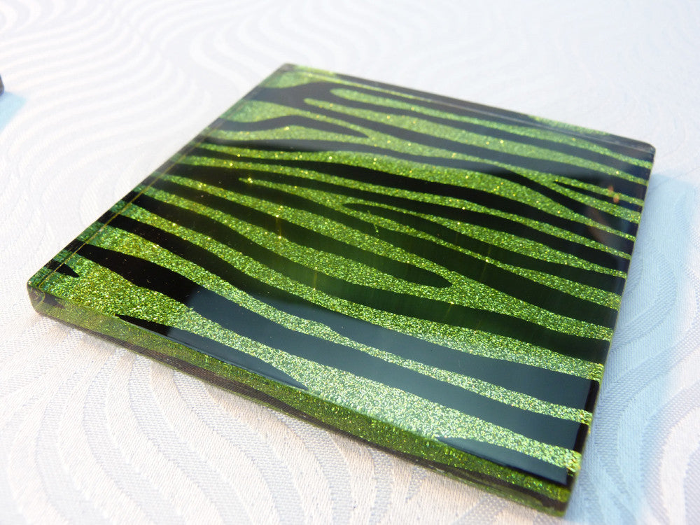 Lime Lust Zebra Coasters 4-pack