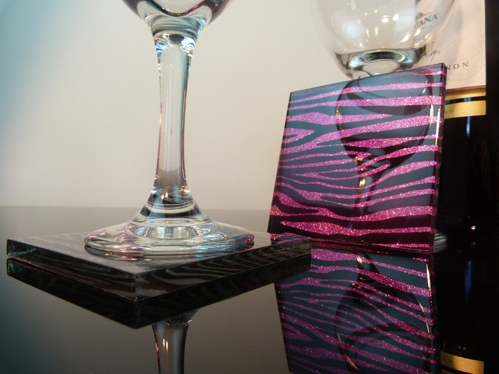 Pink Panther Zebra Coasters 4-pack