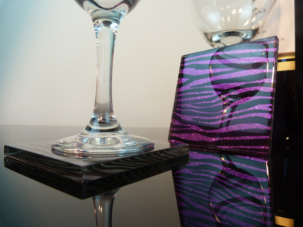 Purple Rain Zebra Coasters 2-pack