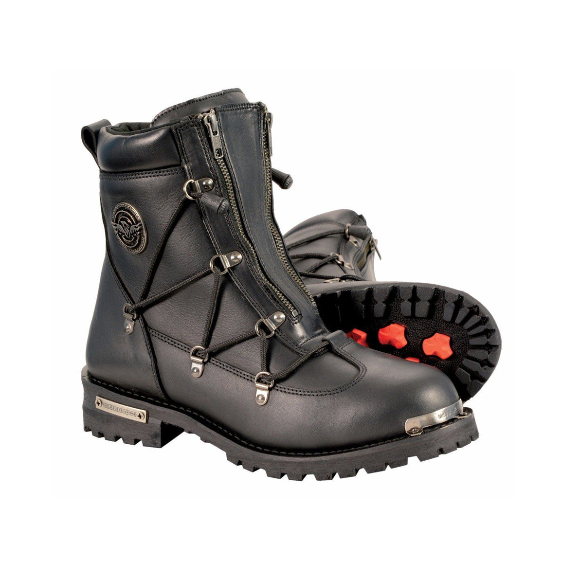 MEN'S RIDING MOTORCYCLE LEATHER BOOT, WATERPROOF FRONT DOUBLE ZIPPER, SIDE LACES