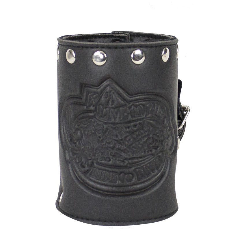 Leather Motorcycle Cup Holder With Stud