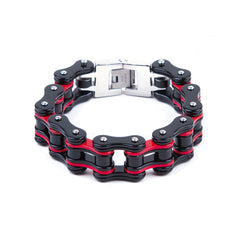 Black & Red Stainless Steel Motorcycle Chain Bracelet