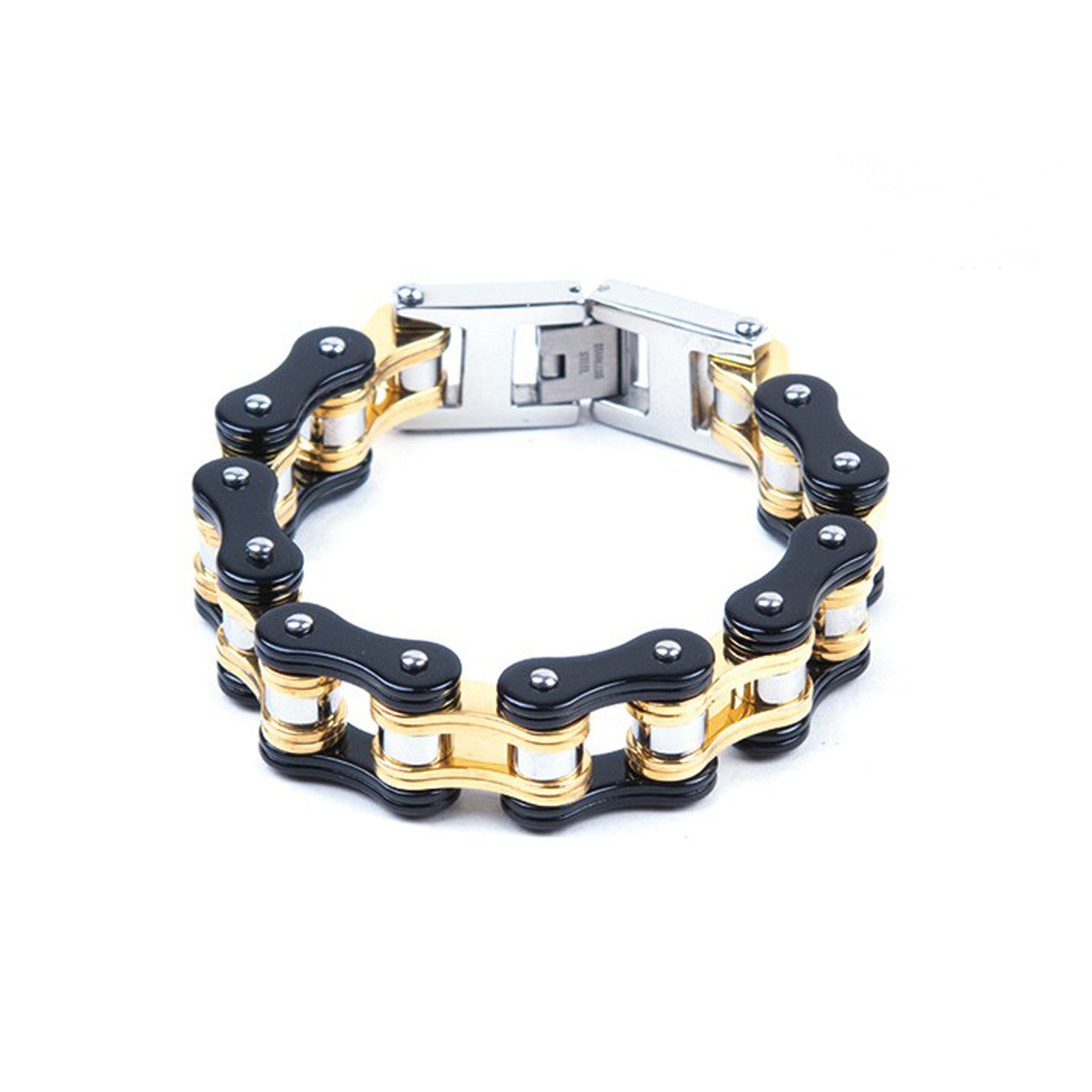 Black & Gold Stainless Steel Motorcycle Chain Bracelet