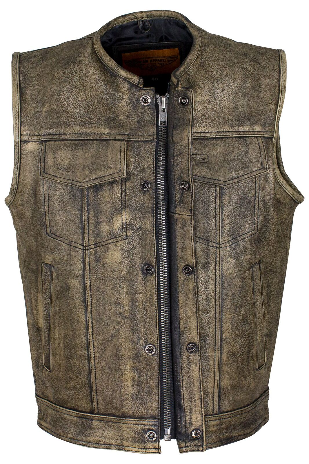 Distressed Brown Leather Motorcycle Club Vest Collerless