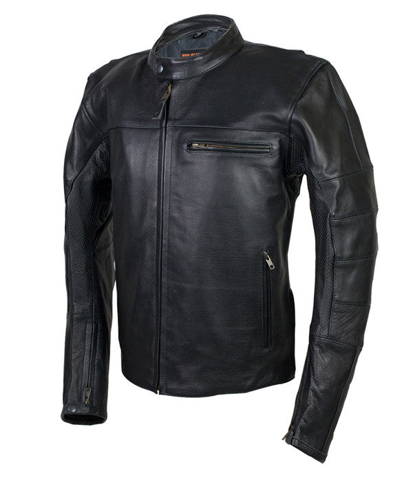 HIGH MILEAGE MEN'S LEATHER VENTED SCOOTER JACKET WITH PERFORATED ARM & SHOULDER