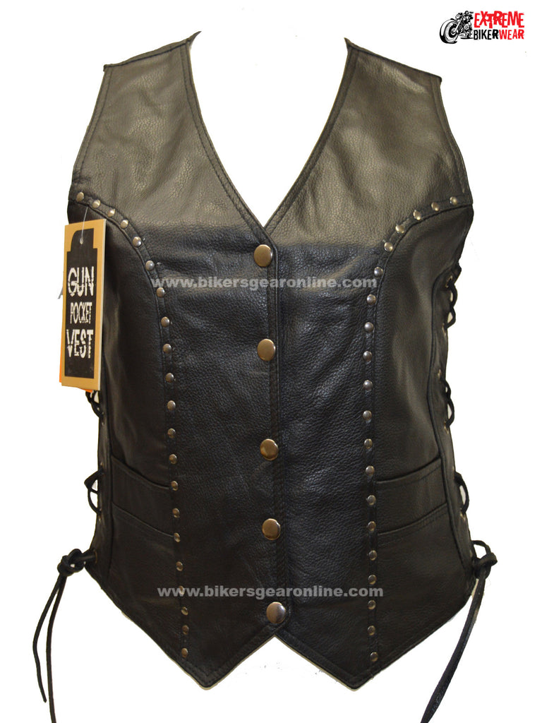 LADIES MOTORCYCLE STUDDED RIDERS BLACK SOFT LEATHER VEST