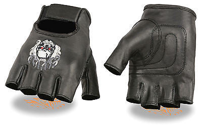 MOTORCYCLE BIKE LEATHER FINGERLESS GLOVES SKULL & FLAMES EMBROIDERED