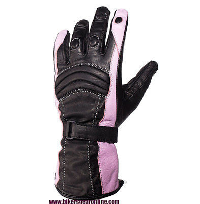 WOMEN'S MOTORCYCLE GENUINE LEATHER PADDED GLOVES BLACK PINK COW SKIN LEATHER NEW