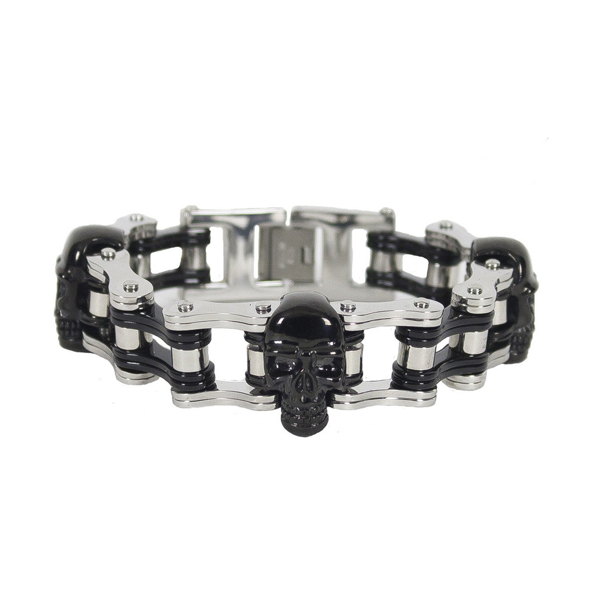 Chrome and Black Motorcycle Chain Bracelet with Black Skulls