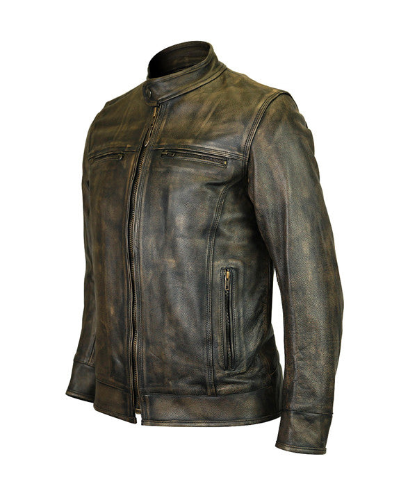 VANCE LEATHER HIGH MILEAGE MEN'S DISTRESSED BROWN LEATHER SCOOTER JACKET