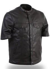 MEN'S SON OF ANARCHY LEATHER MOTORCYCLE SHIRT SNAP COLLAR