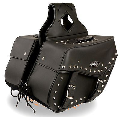 TWO PIECE SADDLEBAG STUDDED MOTORBIKE ZIP OFF PVC SADDLEBAG BLACK NEW