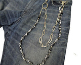BIKERS HEAVY DUTY 20 SKULLS JEANS WALLET KEY CHAIN SILVER DURABLE