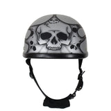 Matte Silver Motorcycle Novelty Helmet With Burning Skull