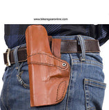 MOTORCYCLE HUNTERS BROWN LEATHER GUN HOLSTERS W/ 2 STRAPS