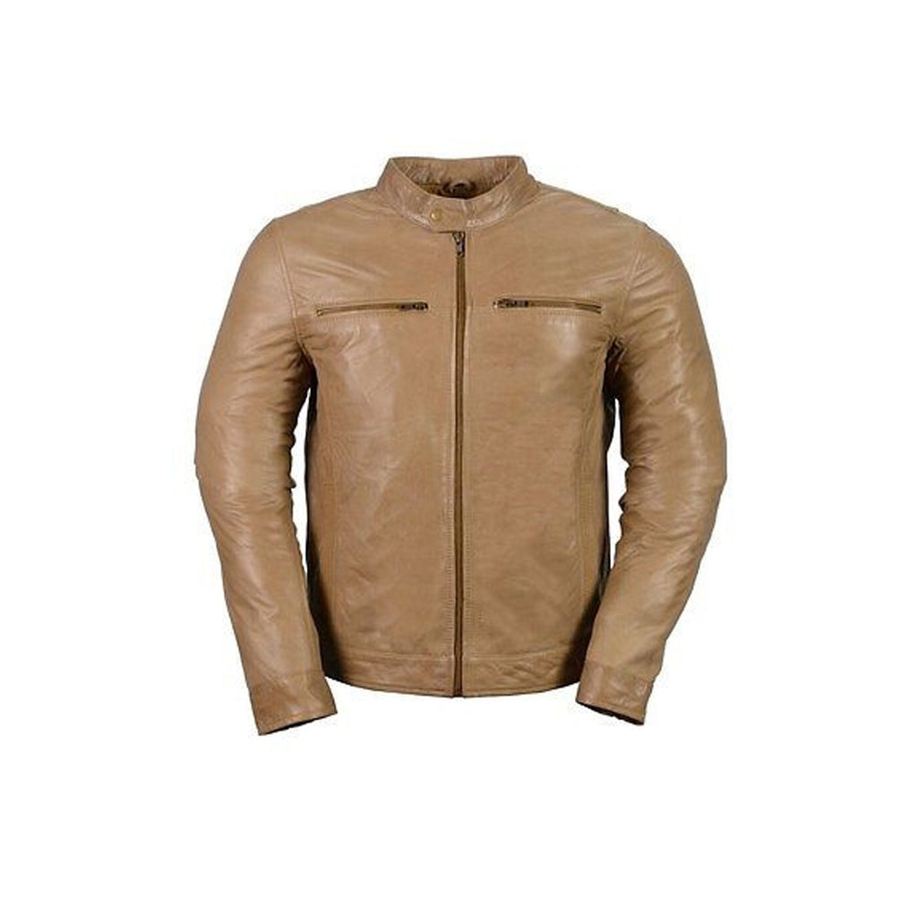 MEN'S CLASSIC SCOOTER GENUINE BRN LEATHER JACKET W/FOUR EXTERIOR POCKETS SOFT