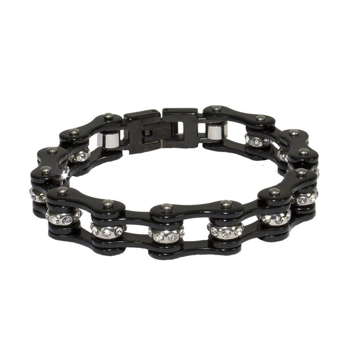 Black Motorcycle Chain Bracelet With Crystals