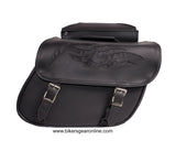 TWO PIECE PVC SADDLEBAG W/ FLAMES ZIP OFF